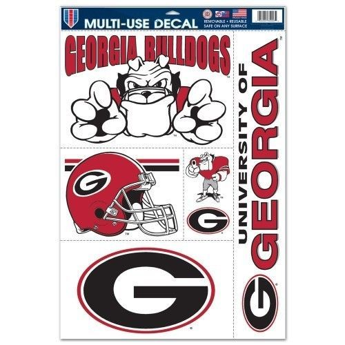 "GEORGIA BULLDOGS ULTRA FILM DECALS BEAN BAG TOSS, CAR, SHEET of 5 SIZE 11"" X 17"""