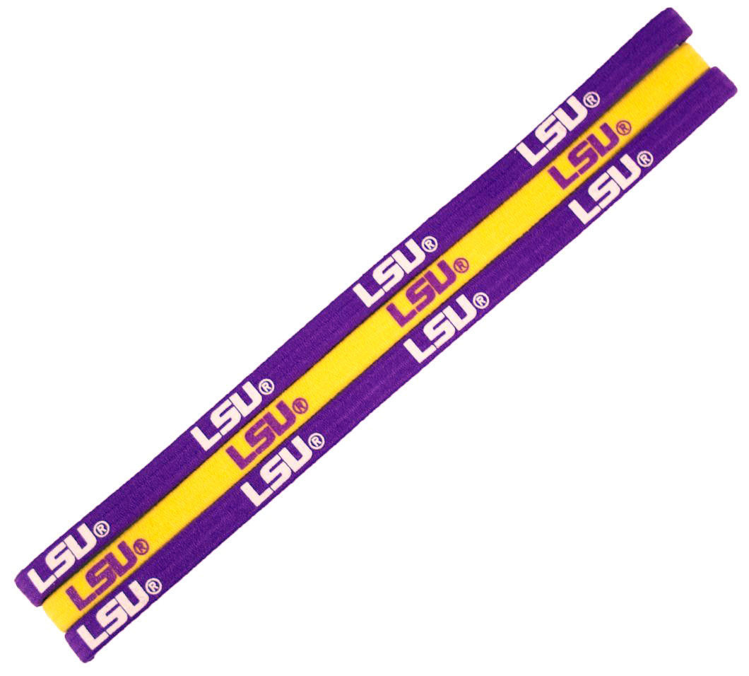 LSU TIGERS Pack of 3 ELASTIC HAIR HEADBANDS TEAM LOGO NCAA