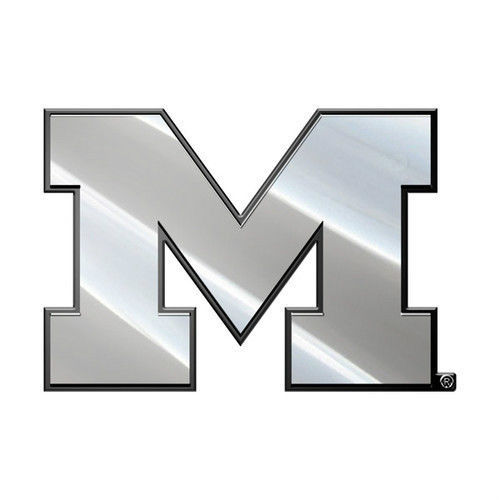 MICHIGAN WOLVERINES CAR AUTO 3-D CHROME SILVER TEAM LOGO EMBLEM
