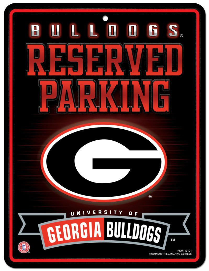 "GEORGIA BULLDOGS RESERVED PARKING METAL WALL SIGN 8.5"" X 11"" NCAA"