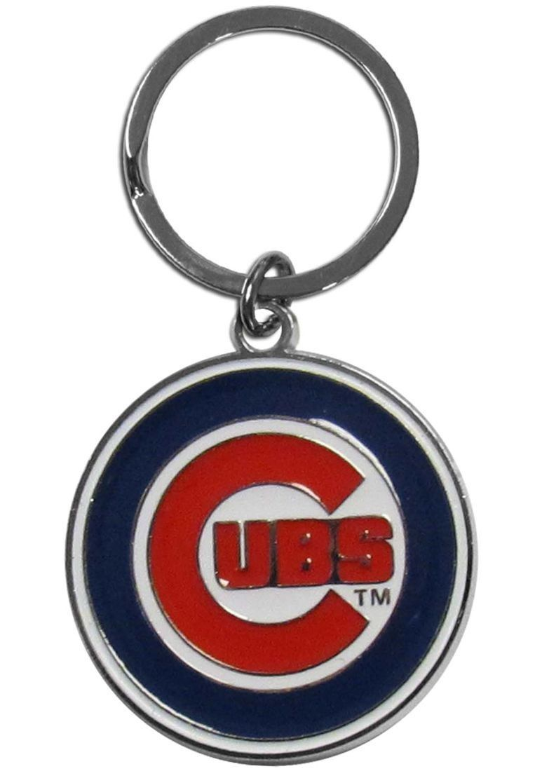 CHICAGO CUBS CHROME METAL CUT TEAM LOGO CAR AUTO KEYCHAIN MLB BASEBALL