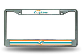 MIAMI DOLPHINS CAR AUTO CHROME METAL LICENSE PLATE TAG FRAME NFL FOOTBALL - $14.86