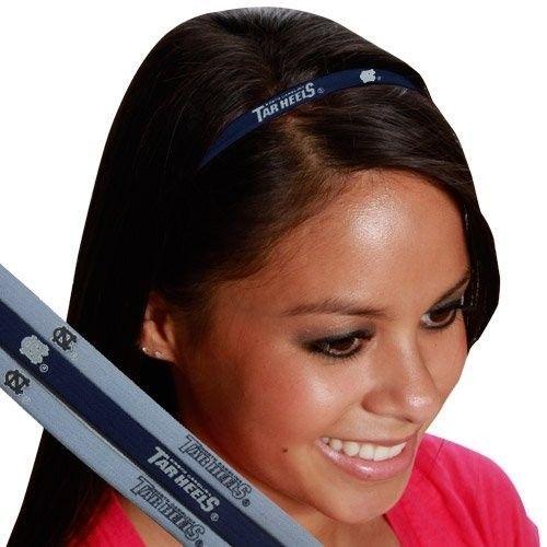 NORTH CAROLINA TAR HEELS Pack of 3 ELASTIC HAIR HEADBANDS TEAM LOGO NCAA