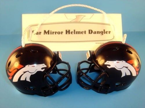 DENVER BRONCOS CAR MIRROR DANCING FOOTBALL HELMETS HANGER NFL FOOTBALL
