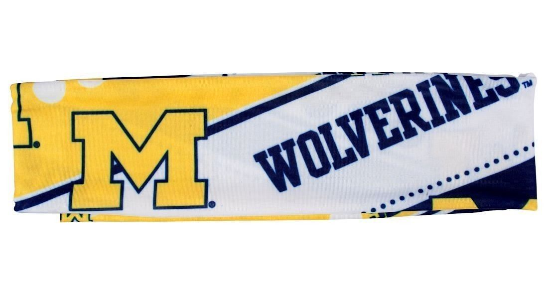 MICHIGAN WOLVERINES STRETCH PATTERNED HEADBAND GAME TAILGATE PARTY SCHOOL NCAA