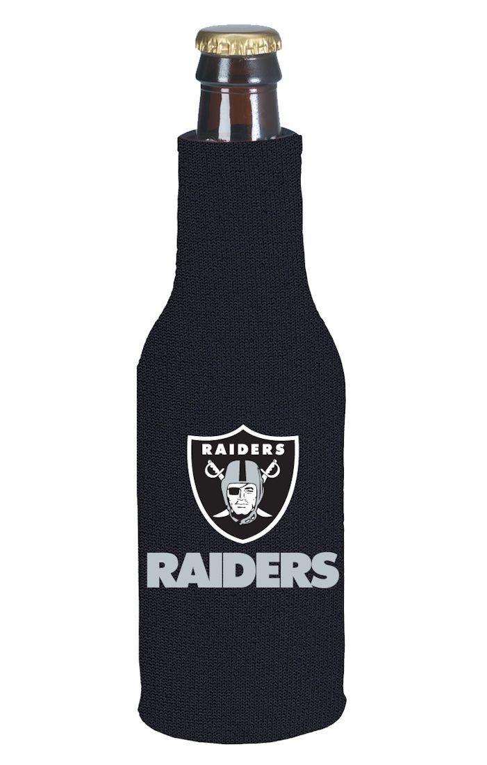 OAKLAND RAIDERS BEER SODA WATER BOTTLE ZIPPER KOOZIE HOLDER NFL FOOTBALL