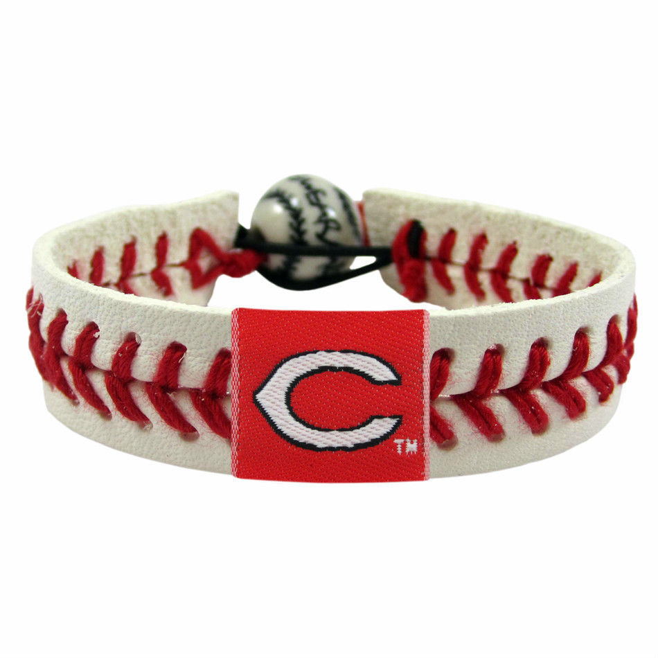 CINCINNATI REDS CLASSIC LEATHER LACES SEAM BRACELET MLB BASEBALL
