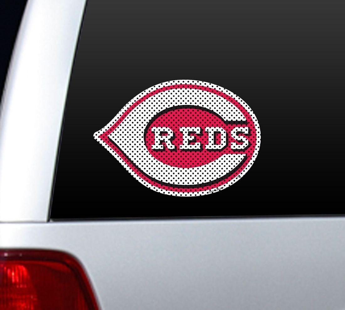 "*BIG* 12"" CINCINNATI REDS CAR HOUSE PERFORATED WINDOW FILM DECAL MLB BASEBALL"
