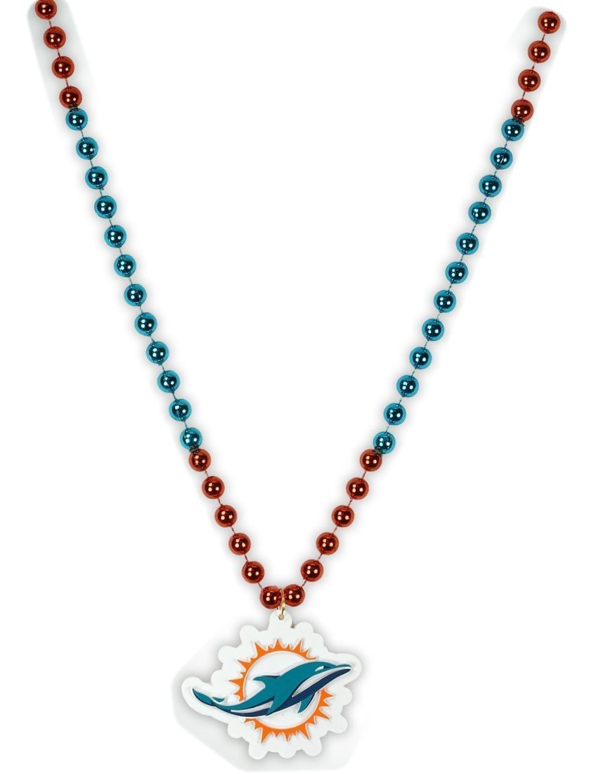 MIAMI DOLPHINS MARDI GRAS BEADS with MEDALLION NECKLACE NFL FOOTBALL