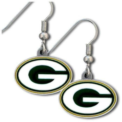 GREEN BAY PACKERS PAIR OF DANGLE EARRINGS TEAM LOGO PARTY TAILGATE NFL FOOTBALL