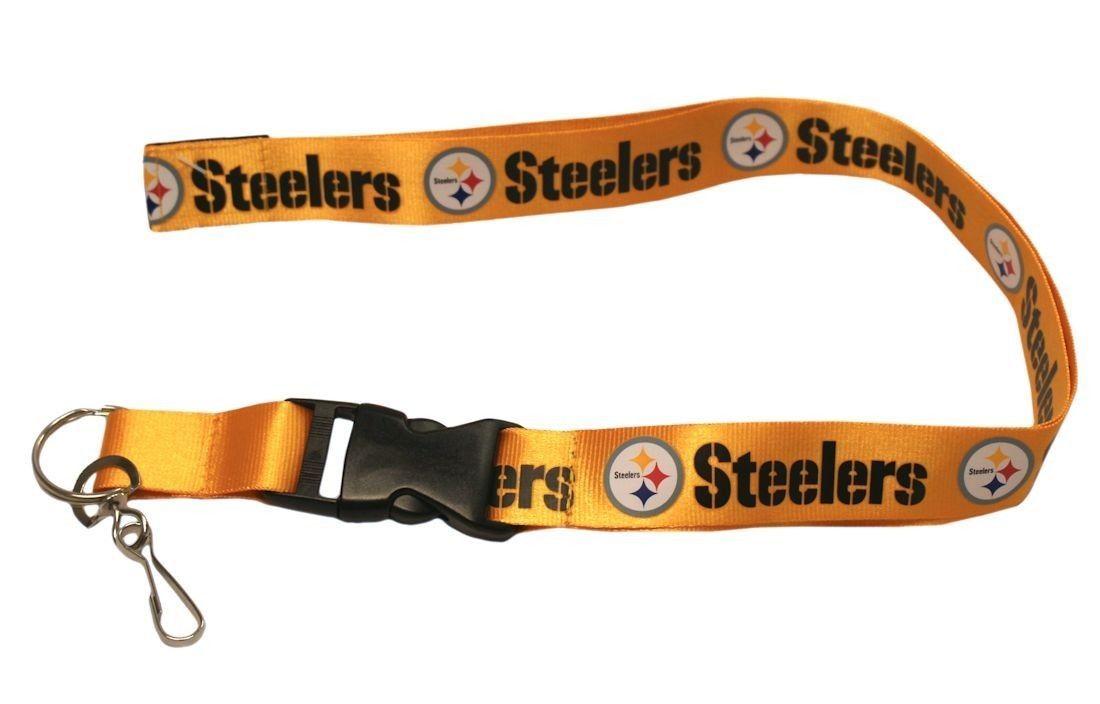 2 PITTSBURGH STEELERS TEAM GOLD LANYARD KEY CHAIN TICKET HOLDER NFL FOOTBALL