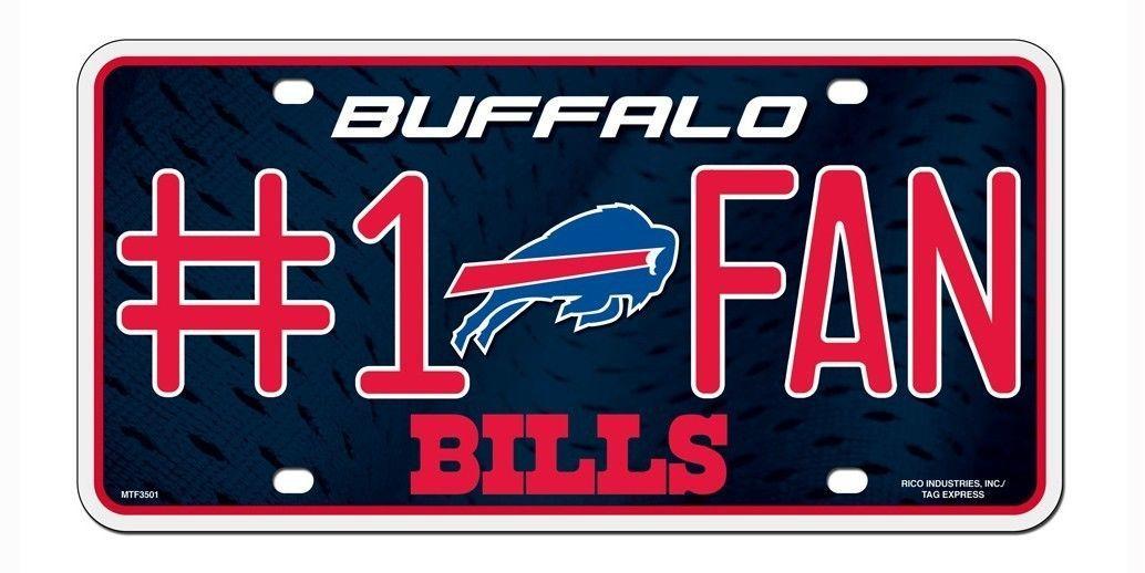 BUFFALO BILLS #1 FAN CAR AUTO METAL LICENSE PLATE TAG NFL FOOTBALL