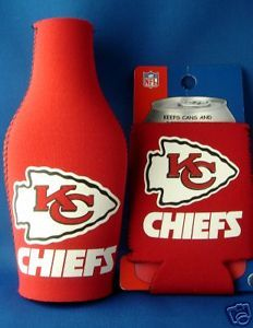 KANSAS CITY CHIEFS BEER SODA WATER BOTTLE & CAN KOOZIE HOLDER NFL FOOTBALL
