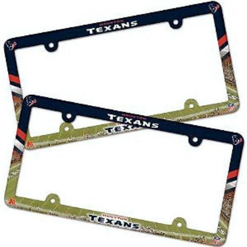 2 HOUSTON TEXANS COLOR CAR PLASTIC LICENSE PLATE TAG FRAME NFL FOOTBALL