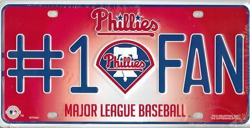 PHILADELPHIA PHILLIES #1 FAN CAR / AUTO LICENSE PLATE TAG MLB BASEBALL