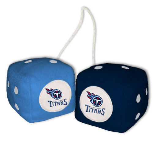 TENNESSEE TITANS PLUSH FUZZY DICE CAR MIRROR DANGLER NFL FOOTBALL