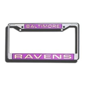BALTIMORE RAVENS CAR LASER-CUT CHROME LICENSE PLATE FRAME NFL FOOTBALL