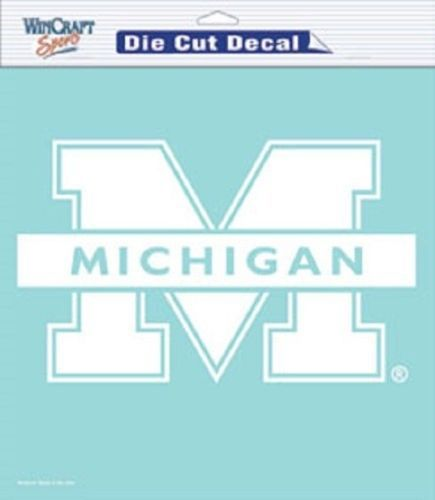 """SALE LAST ONE MICHIGAN WOLVERINES 8""""X8"""" CLEAR FILM DECAL WHITE LOGO"""