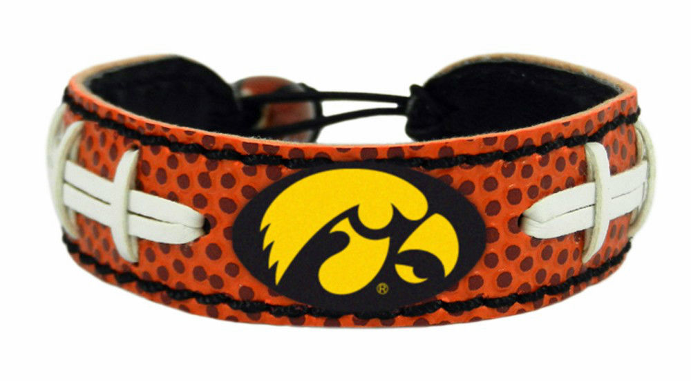 IOWA HAWKEYES LEATHER FOOTBALL LACES CLASSIC BRACELET NCAA