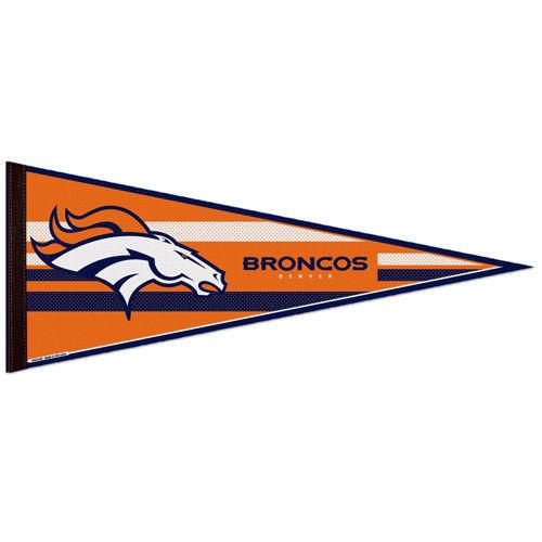 "2 BIG DENVER BRONCOS TEAM FELT PENNANT 12""X30"" NFL FOOTBALL SHIPS FLAT in USA"