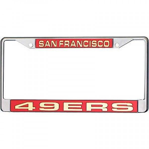 SAN FRANCISCO 49ERS CAR LASER MIRROR CHROME LICENSE PLATE TAG FRAME NFL FOOTBALL