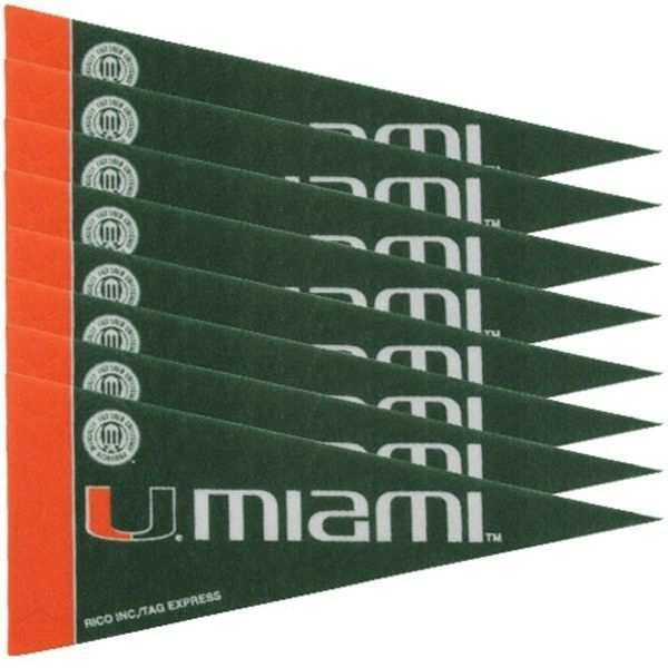 MIAMI HURRICANES 8 PIECE MINI PENNANTS SET of FELT TEAM LOGO & COLORS