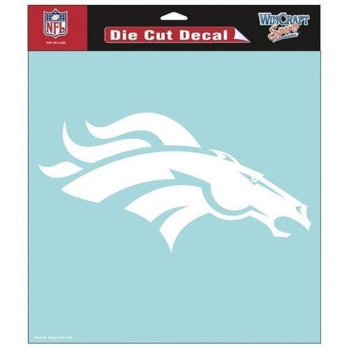 "DENVER BRONCOS 8"" X 8"" CLEAR FILM DIE CUT DECAL WHITE LOGO NFL FOOTBALL #1"