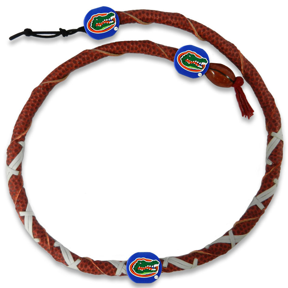 FLORIDA GATORS GENUINE LEATHER SPIRAL FOOTBALL NECKLACE