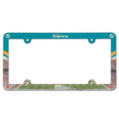 2 MIAMI DOLPHINS COLOR CAR AUTO PLASTIC LICENSE PLATE TAG FRAME NFL FOOTBALL