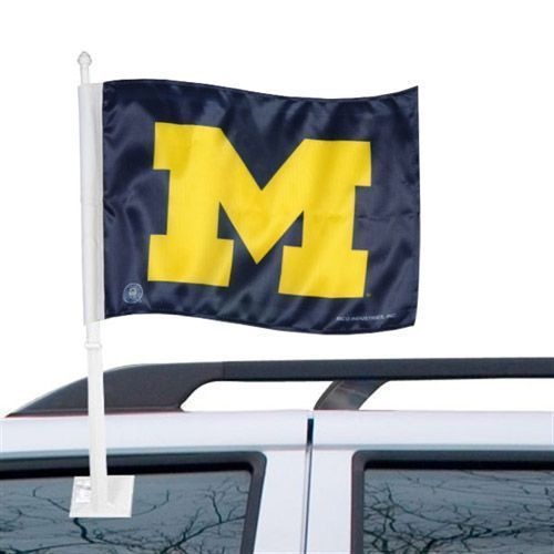 "MICHIGAN WOLVERINES CAR AUTO FLAG BANNER & POLE 2 SIDED 11"" X 15"" X POLE 20"""