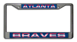 ATLANTA BRAVES CAR LASER MIRROR CHROME LICENSE FRAME