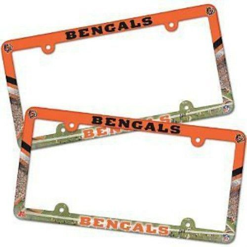 2 CINCINNATI BENGALS COLOR CAR AUTO PLASTIC LICENSE PLATE TAG FRAME NFL FOOTBALL
