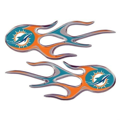 MIAMI DOLPHINS MICRO FLAMES CAR AUTO 3-D CHROME EMBLEM 2 PACK NFL FOOTBALL