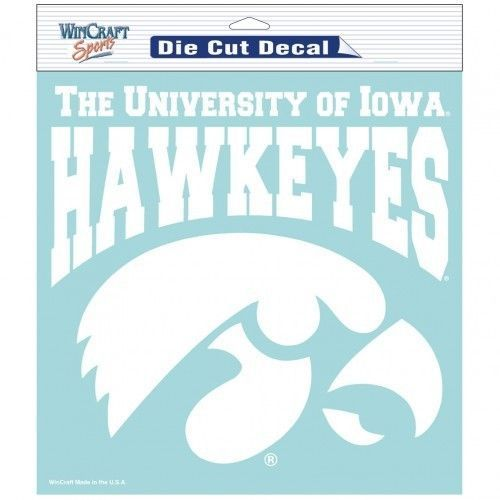 "IOWA HAWKEYES  8"" X 8"" CLEAR FILM DIE-CUT DECAL WHITE LOGO NCAA"