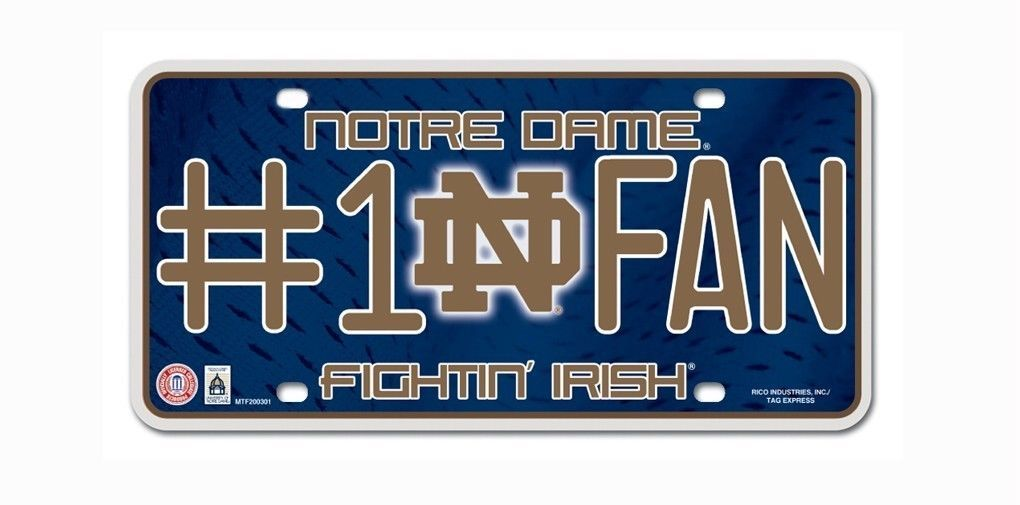 NOTRE DAME FIGHTIN' IRISH #1 FAN CAR AUTO METAL LICENSE PLATE NCAA