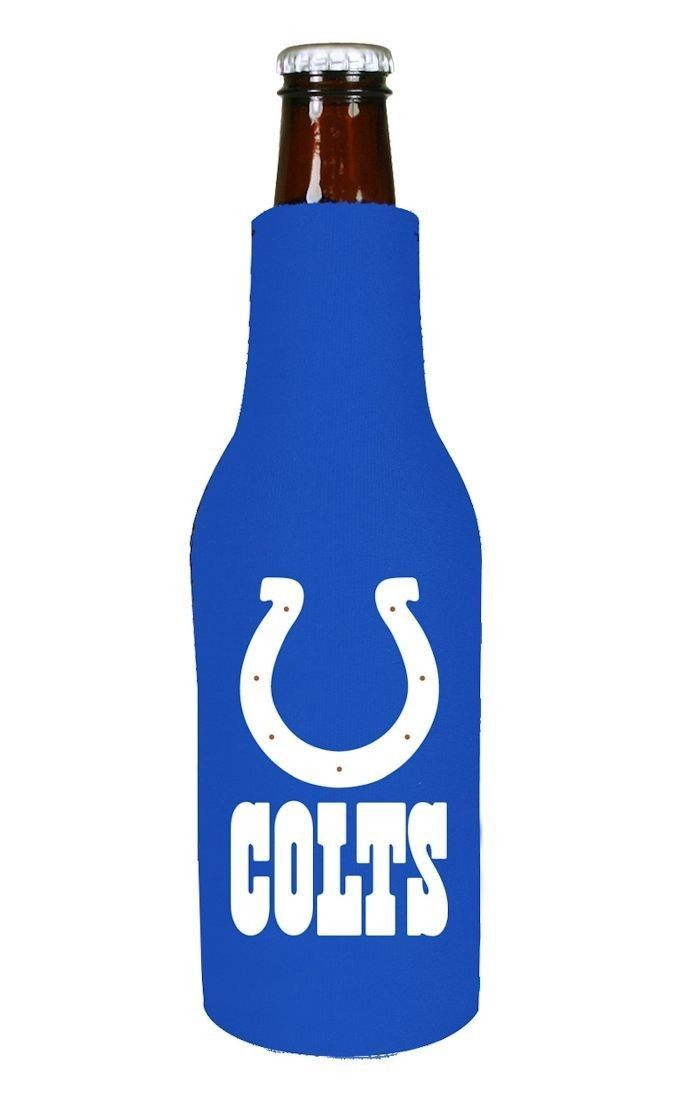 2 INDIANAPOLIS COLTS BEER SODA WATER BOTTLE ZIPPER KOOZIE HOLDER NFL FOOTBALL