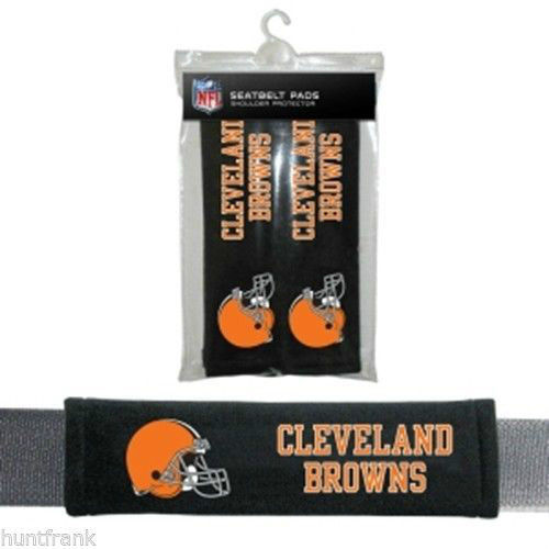 CLEVELAND BROWNS 2 VELOUR SEAT BELT LAPTOP GYM BAG SHOULDER PADS NFL FOOTBALL