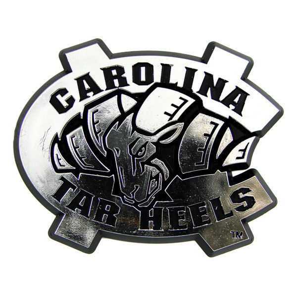 NORTH CAROLINA TAR HEELS CAR AUTO 3-D CHROME SILVER TEAM LOGO EMBLEM