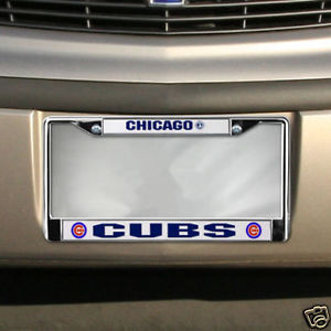 CAR CHROME METAL LICENSE PLATE FRAME CHICAGO CUBS MLB