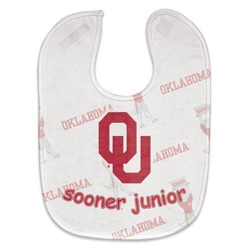 OKLAHOMA SOONERS MESH BABY BIB VELCRO CLOSURE TEAM COLORS & LOGO NCAA