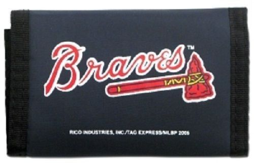 ATLANTA BRAVES TEAM LOGO NYLON TRIFOLD WALLET MLB BASEBALL
