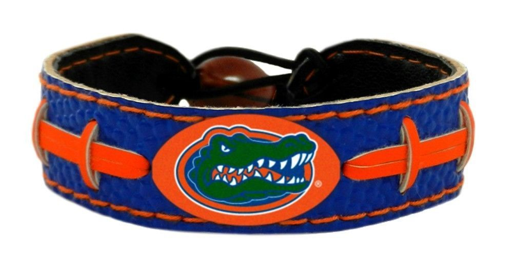 FLORIDA GATORS COLOR FOOTBALL LEATHER LACES CLASSIC BRACELET NCAA