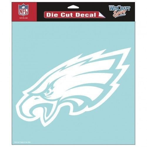 "PHILADELPHIA EAGLES 8"" X 8"" CLEAR FILM DIE CUT DECAL WHITE LOGO NFL FOOTBALL #1"
