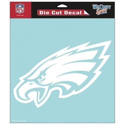 "PHILADELPHIA EAGLES 8"" X 8"" CLEAR FILM DIE CUT DECAL WHITE LOGO NFL FOOTBALL #0"