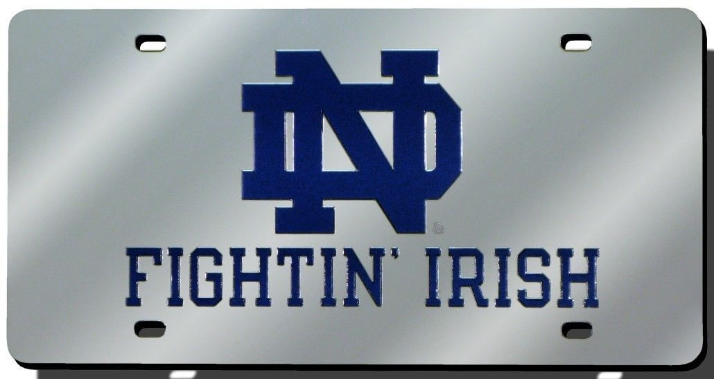 NOTRE DAME FIGHTIN' IRISH (MIRROR) LASER ENGRAVED CAR AUTO LICENSE PLATE TAG