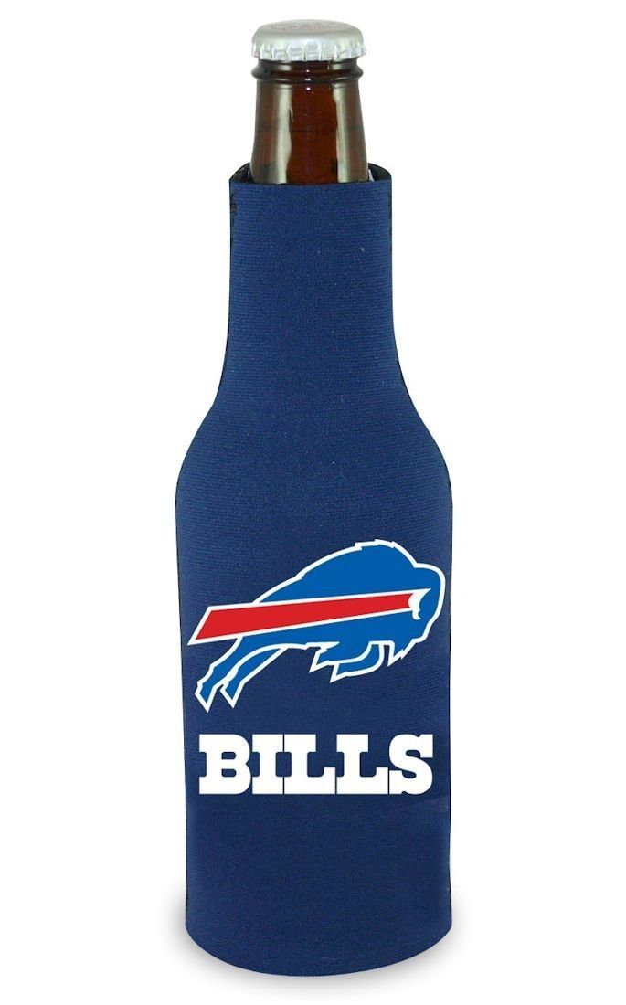 2 BUFFALO BILLS BEER SODA WATER BOTTLE ZIPPER KOOZIE HOLDER NFL FOOTBALL