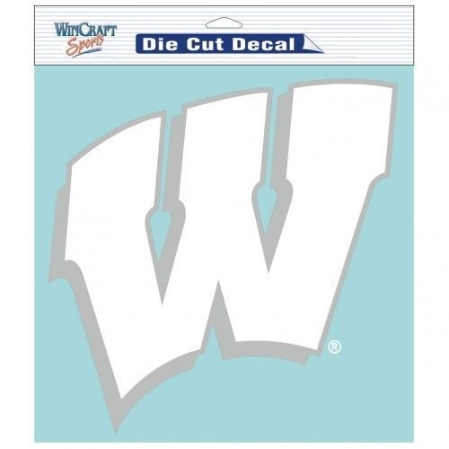 "WISCONSIN BADGERS 8"" X 8"" CLEAR FILM DIE CUT DECAL WHITE LOGO NCAA #1"