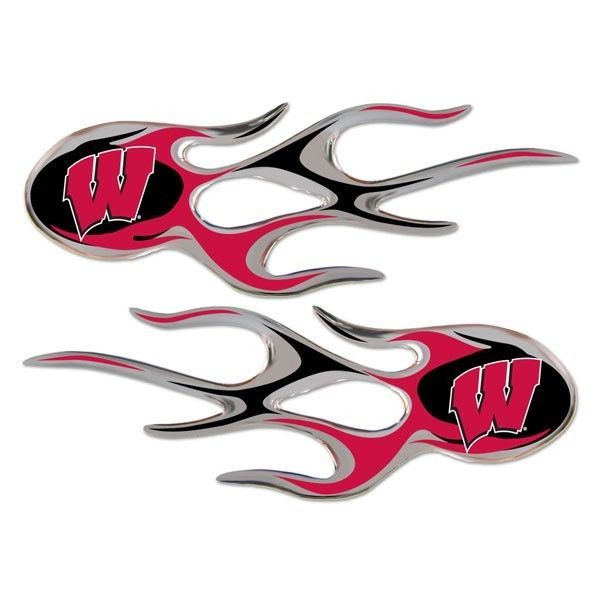 WISCONSIN BADGERS MICRO FLAMES CAR AUTO 3-D CHROME EMBLEM 2 PACK