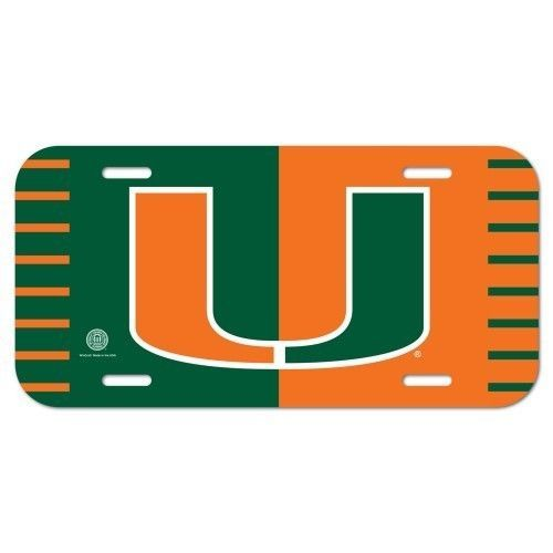 MIAMI HURRICANES CAR AUTO PLASTIC LICENSE PLATE TAG SCHOOL LOGO NCAA  #A