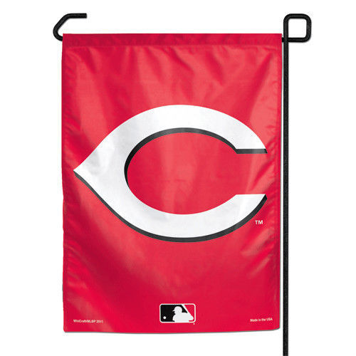 "CINCINNATI REDS TEAM GARDEN YARD WALL FLAG BANNER 11"" X 15"" MLB BASEBALL"